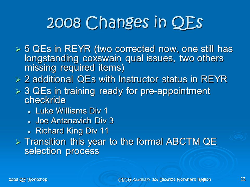 2008 QE Workshop USCG Auxiliary 1st District Northern Region 12 2008 Changes in QEs  5 QEs in REYR (two corrected now, one still has longstanding cox