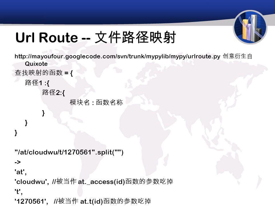 Url Route -- 文件路径映射 http://mayoufour.googlecode.com/svn/trunk/mypylib/mypy/urlroute.py 创意衍生自 Quixote 查找映射的函数 = { 路径 1 :{ 路径 2:{ 模块名 : 函数名称 } /at/cloudwu/t/1270561 .split( ) -> at , cloudwu , // 被当作 at._access(id) 函数的参数吃掉 t , 1270561 , // 被当作 at.t(id) 函数的参数吃掉