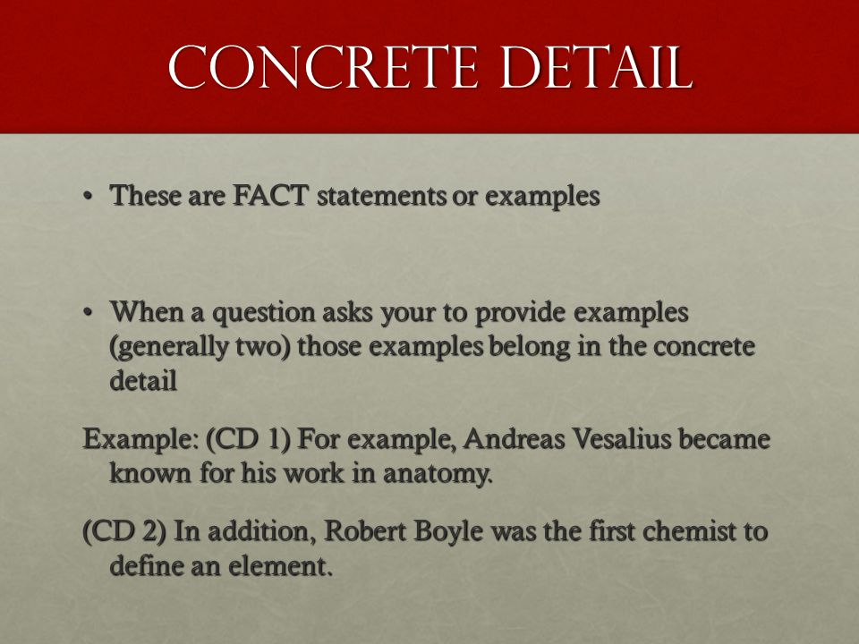 Commentary In these sentences you will explain your concrete details.In these sentences you will explain your concrete details.