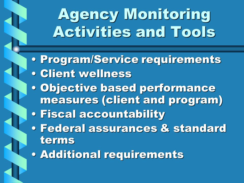Agency Monitoring Activities and Tools Program/Service requirementsProgram/Service requirements Client wellnessClient wellness Objective based performance measures (client and program)Objective based performance measures (client and program) Fiscal accountabilityFiscal accountability Federal assurances & standard termsFederal assurances & standard terms Additional requirementsAdditional requirements