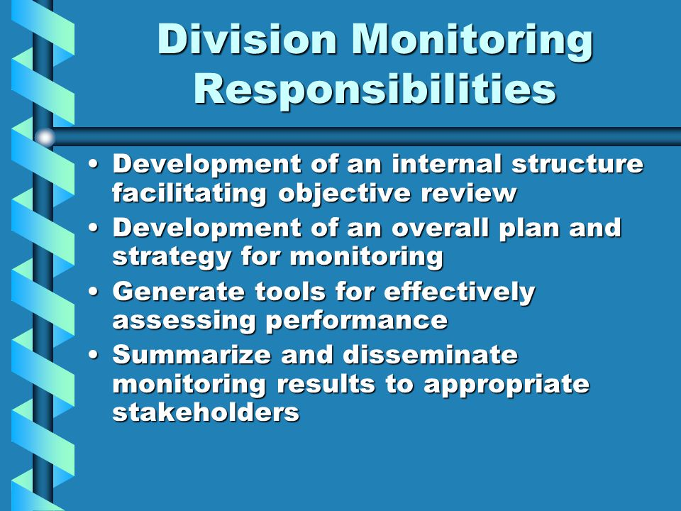 Division Monitoring Responsibilities Development of an internal structure facilitating objective reviewDevelopment of an internal structure facilitating objective review Development of an overall plan and strategy for monitoringDevelopment of an overall plan and strategy for monitoring Generate tools for effectively assessing performanceGenerate tools for effectively assessing performance Summarize and disseminate monitoring results to appropriate stakeholdersSummarize and disseminate monitoring results to appropriate stakeholders