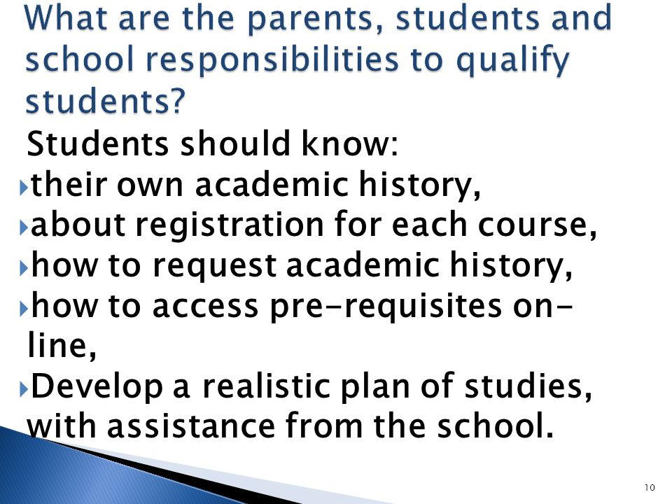 Students should know:  their own academic history,  about registration for each course,  how to request academic history,  how to access pre-requisites on- line,  Develop a realistic plan of studies, with assistance from the school.