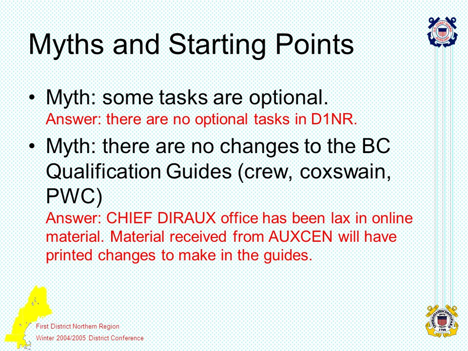 First District Northern Region Winter 2004/2005 District Conference Myths and Starting Points Myth: some tasks are optional.