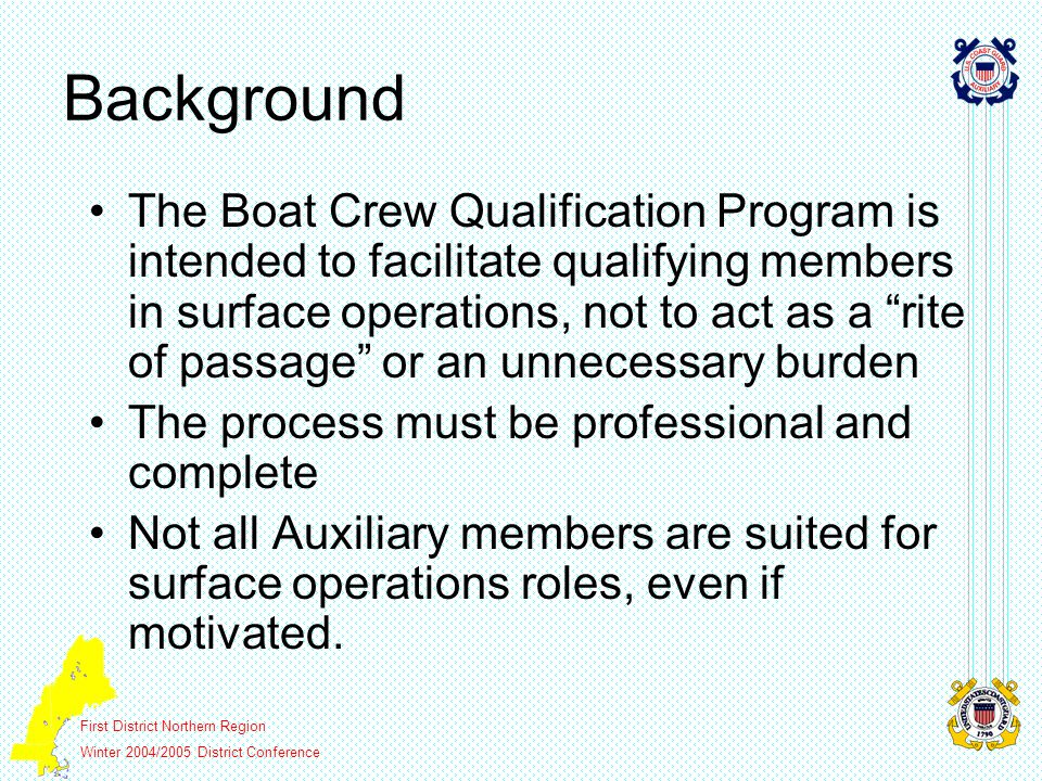 First District Northern Region Winter 2004/2005 District Conference Background The Boat Crew Qualification Program is intended to facilitate qualifying members in surface operations, not to act as a rite of passage or an unnecessary burden The process must be professional and complete Not all Auxiliary members are suited for surface operations roles, even if motivated.