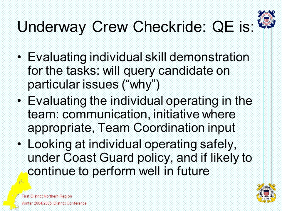First District Northern Region Winter 2004/2005 District Conference Underway Coxswain Checkride: QEs are: Evaluating the candidate as a leader in stressful situations.