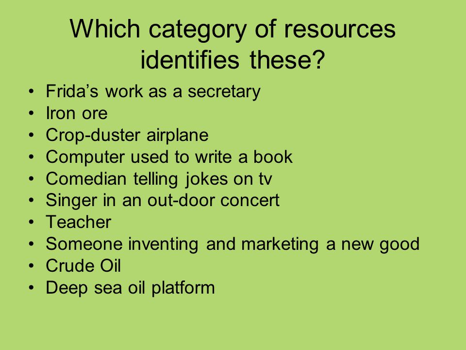 Which category of resources identifies these.