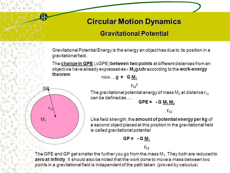 Circular Motion Dynamics Gravitational Potential Gravitational Potential Energy is the energy an object has due to its position in a gravitational fie