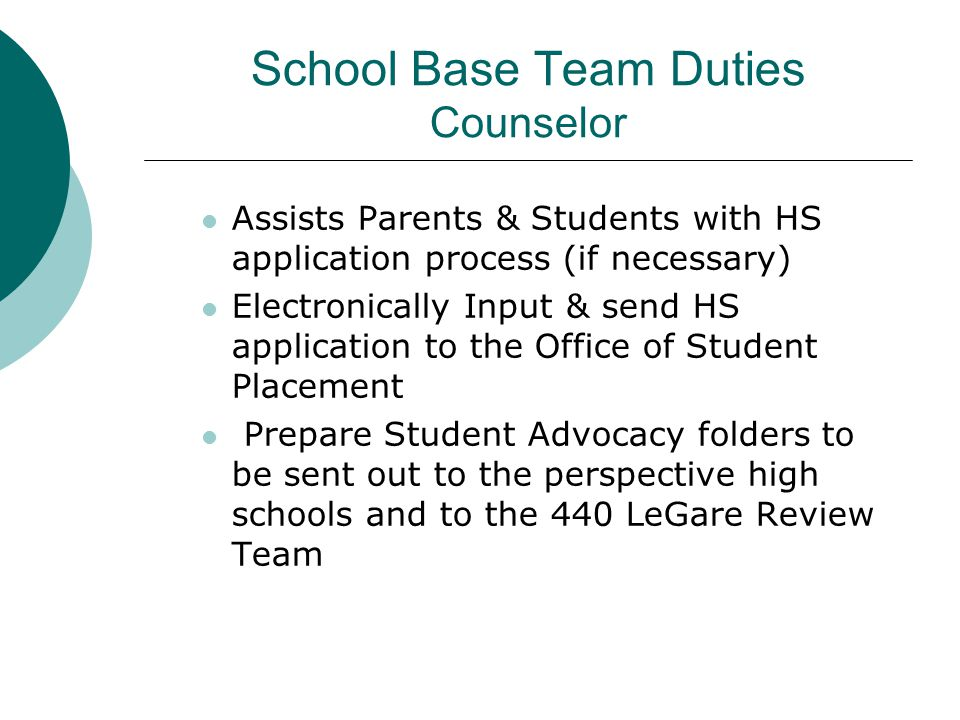 School Base Team Duties Counselor Assists Parents & Students with HS application process (if necessary) Electronically Input & send HS application to