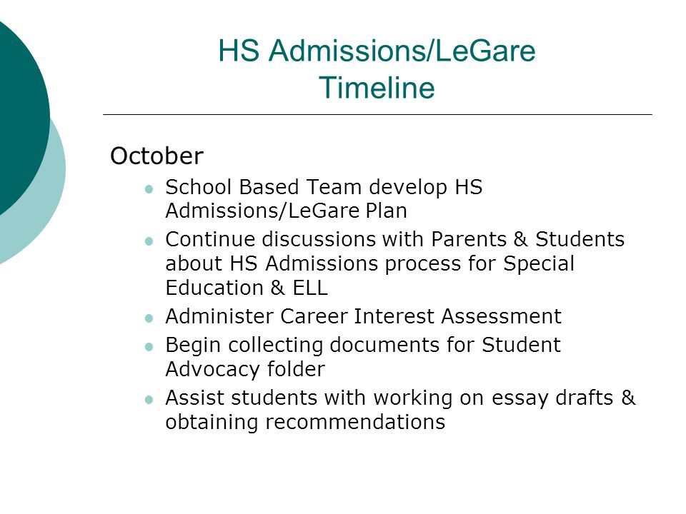 HS Admissions/LeGare Timeline October School Based Team develop HS Admissions/LeGare Plan Continue discussions with Parents & Students about HS Admiss