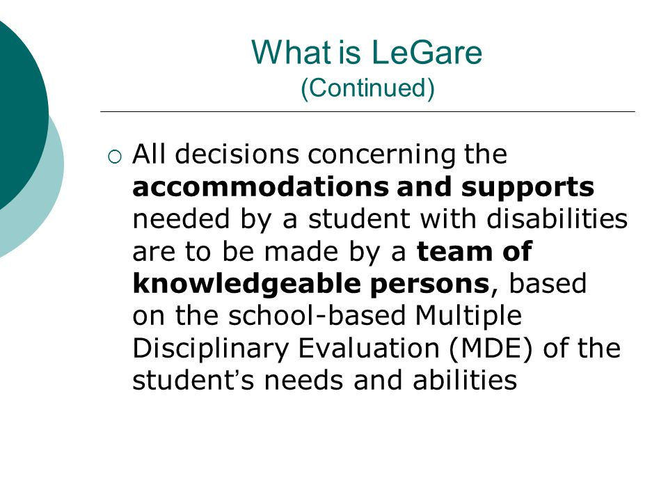 Additional Information (continued) Comprehensive & Charter High Schools are not part of the LeGare Review Students are NOT eligible for LeGare if they were not considered as Thought To Be prior to October