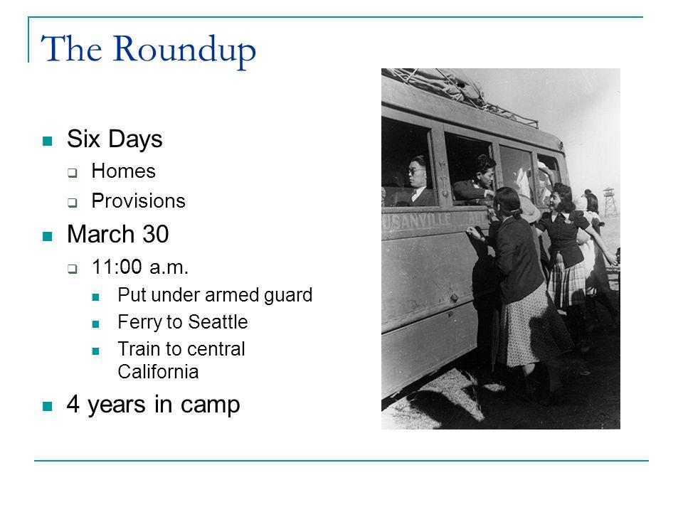 The Bainbridge Island Evacuation First Evacuation  1942  Organized by the Emergency Defense Council  250 farmers and fishermen Civilian Exclusion Order No.