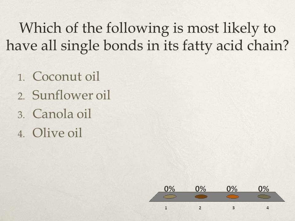 Which of the following is most likely to have all single bonds in its fatty acid chain? 1. Coconut oil 2. Sunflower oil 3. Canola oil 4. Olive oil