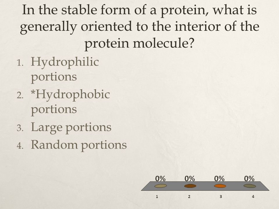In the stable form of a protein, what is generally oriented to the interior of the protein molecule? 1. Hydrophilic portions 2. *Hydrophobic portions