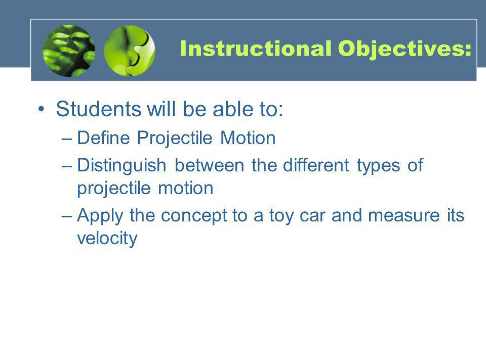 Instructional Objectives: Students will be able to: –Define Projectile Motion –Distinguish between the different types of projectile motion –Apply the