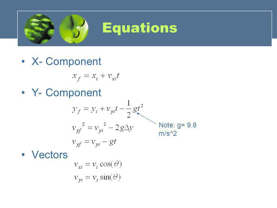 Equations X- Component Y- Component Vectors Note: g= 9.8 m/s^2