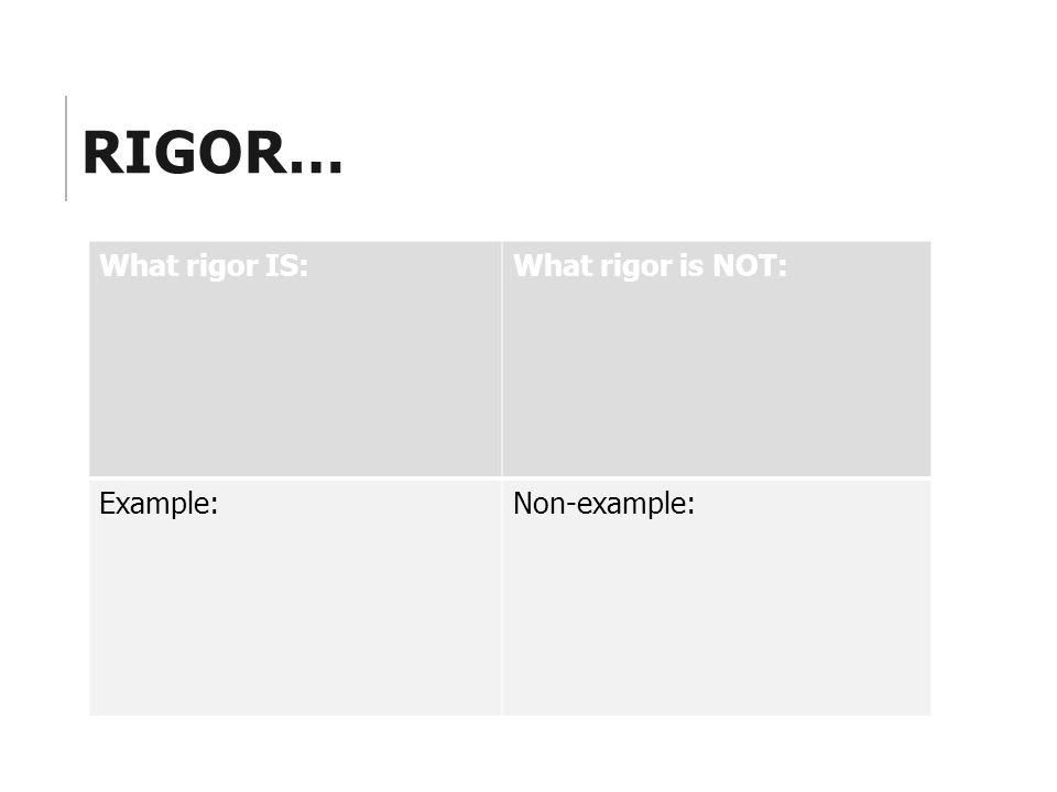 RIGOR… What rigor IS:What rigor is NOT: Example:Non-example:
