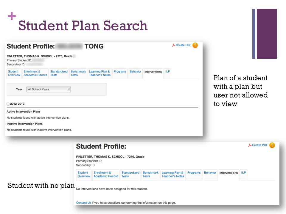 + Student Plan Search Plan of a student with a plan but user not allowed to view Student with no plan