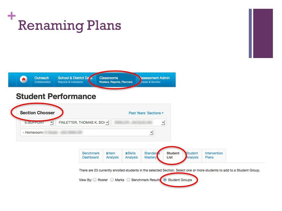 + Renaming Plans