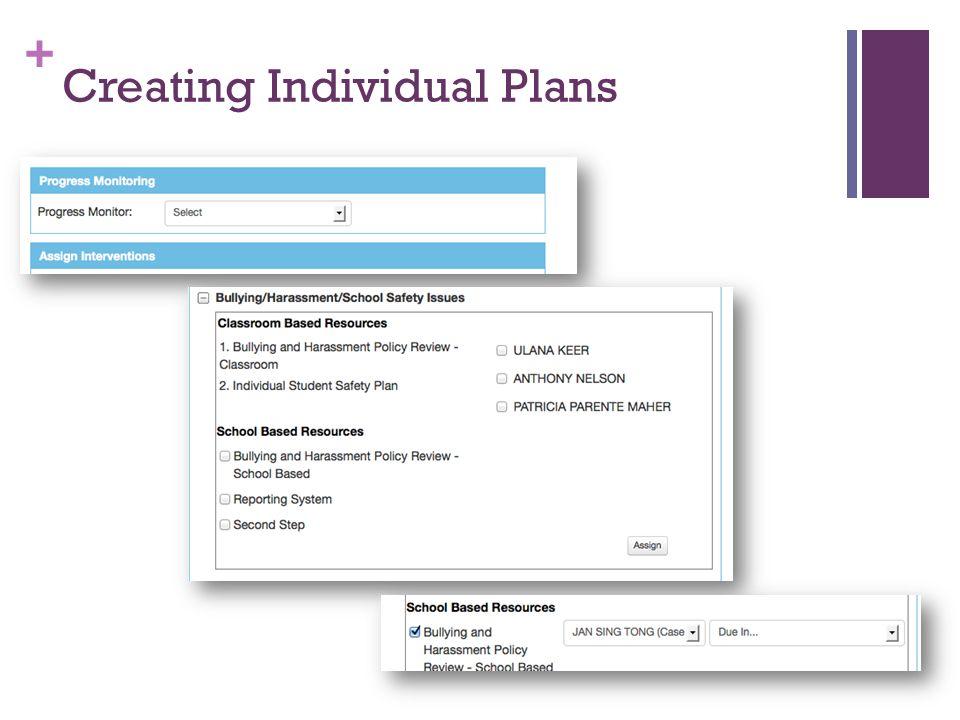 + Creating Individual Plans
