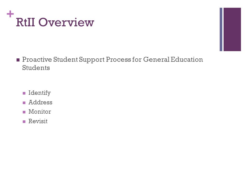 + RtII Overview Proactive Student Support Process for General Education Students Identify Address Monitor Revisit