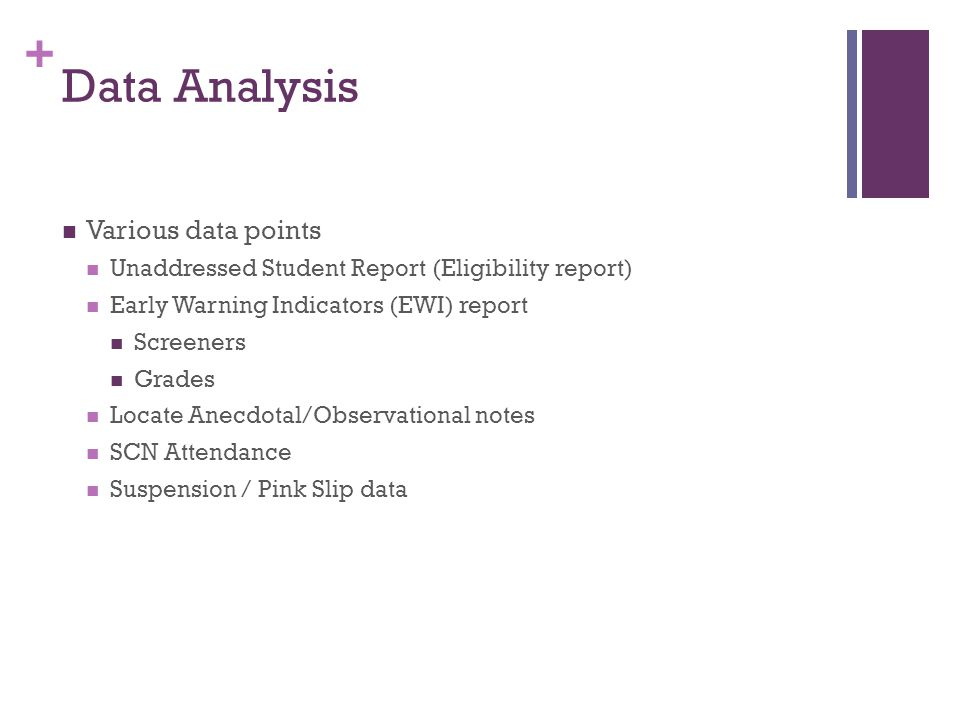+ Data Analysis Various data points Unaddressed Student Report (Eligibility report) Early Warning Indicators (EWI) report Screeners Grades Locate Anecdotal/Observational notes SCN Attendance Suspension / Pink Slip data