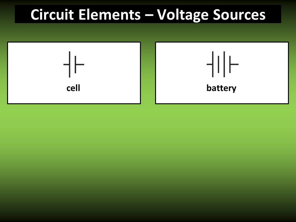 Circuit Elements – Voltage Sources batterycell