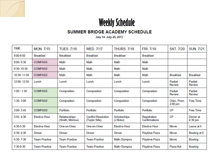 9 Weekly Schedule
