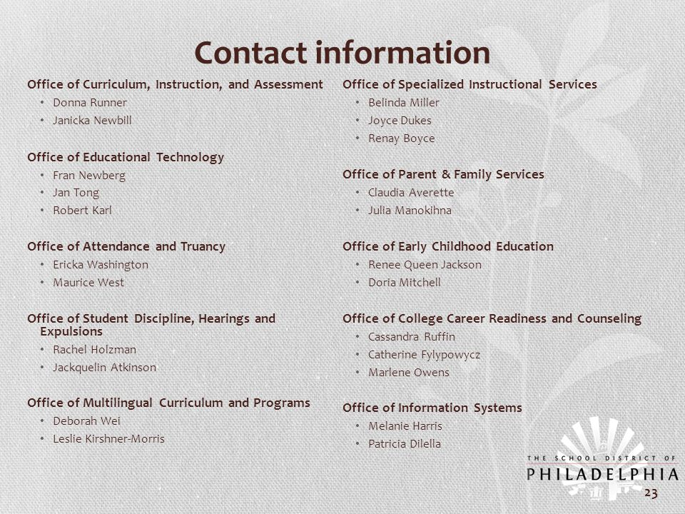 Contact information Office of Curriculum, Instruction, and Assessment Donna Runner Janicka Newbill Office of Educational Technology Fran Newberg Jan T