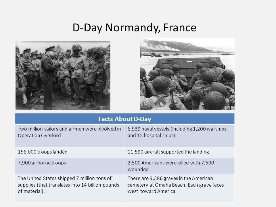 D-Day Normandy, France Facts About D-Day Two million sailors and airmen were involved in Operation Overlord 6,939 naval vessels (including 1,200 warships and 15 hospital ships).