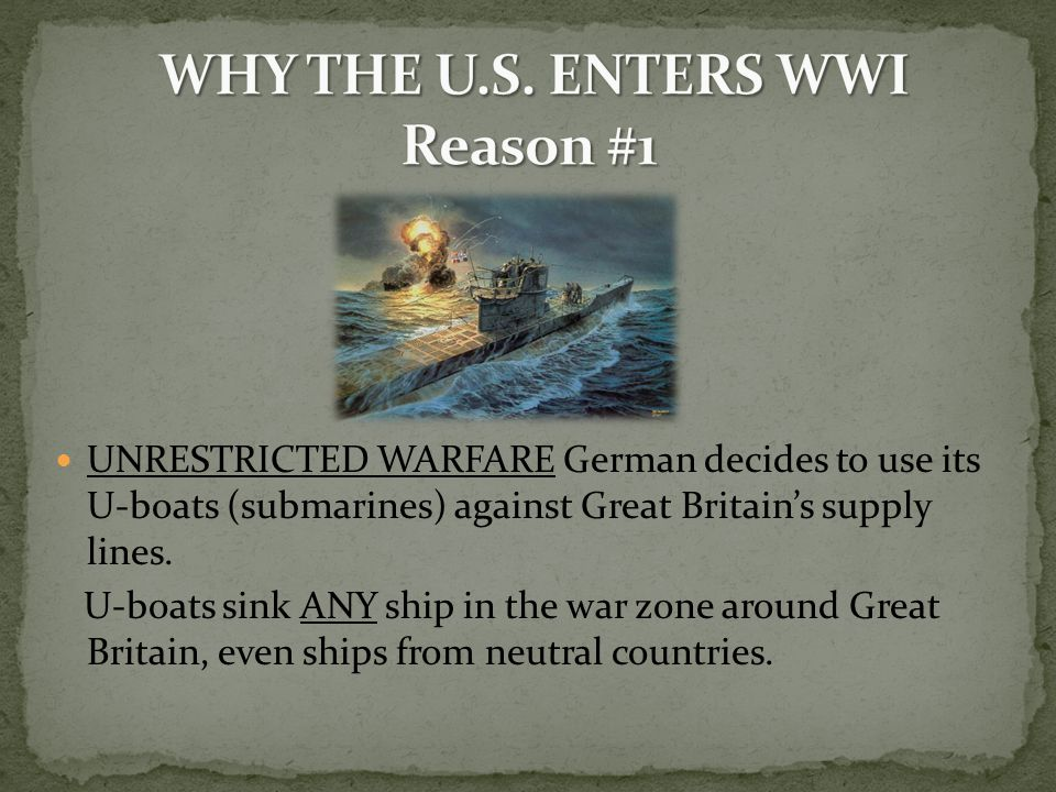 UNRESTRICTED WARFARE German decides to use its U-boats (submarines) against Great Britain's supply lines.