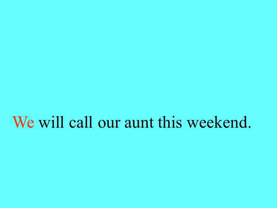 Choose we or us. (we or us) will call our aunt this weekend.