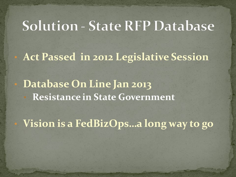 Act Passed in 2012 Legislative Session Database On Line Jan 2013 Resistance in State Government Vision is a FedBizOps…a long way to go