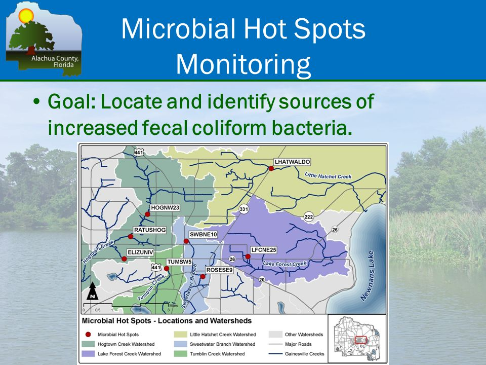 Microbial Hot Spots Monitoring Goal: Locate and identify sources of increased fecal coliform bacteria.