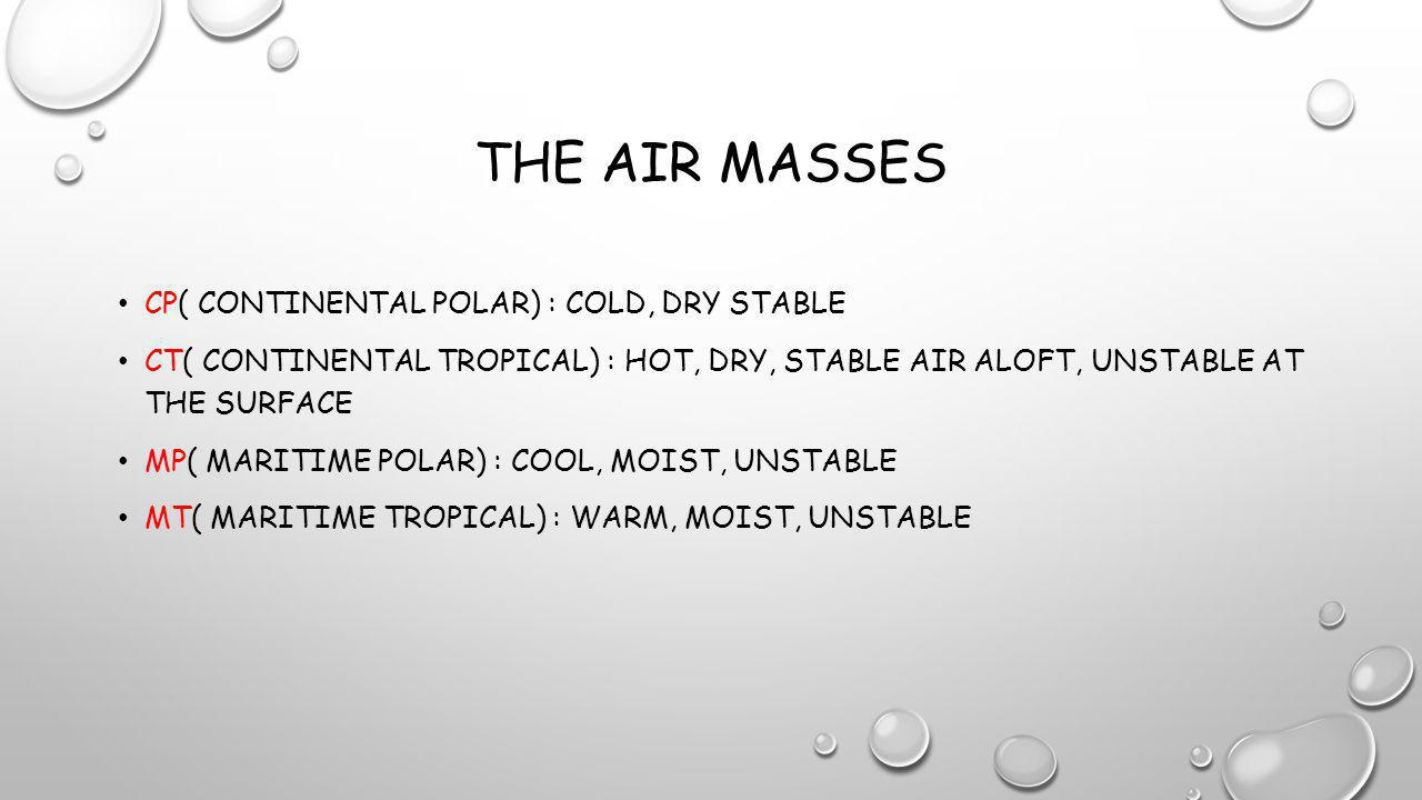 THE AIR MASSES CP( CONTINENTAL POLAR) : COLD, DRY STABLE CT( CONTINENTAL TROPICAL) : HOT, DRY, STABLE AIR ALOFT, UNSTABLE AT THE SURFACE MP( MARITIME POLAR) : COOL, MOIST, UNSTABLE MT( MARITIME TROPICAL) : WARM, MOIST, UNSTABLE