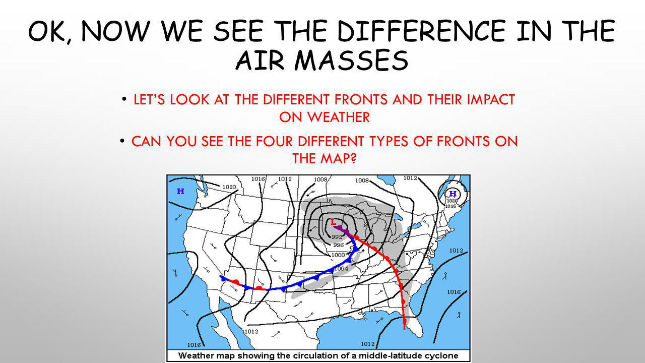 OK, NOW WE SEE THE DIFFERENCE IN THE AIR MASSES LET'S LOOK AT THE DIFFERENT FRONTS AND THEIR IMPACT ON WEATHER CAN YOU SEE THE FOUR DIFFERENT TYPES OF FRONTS ON THE MAP?