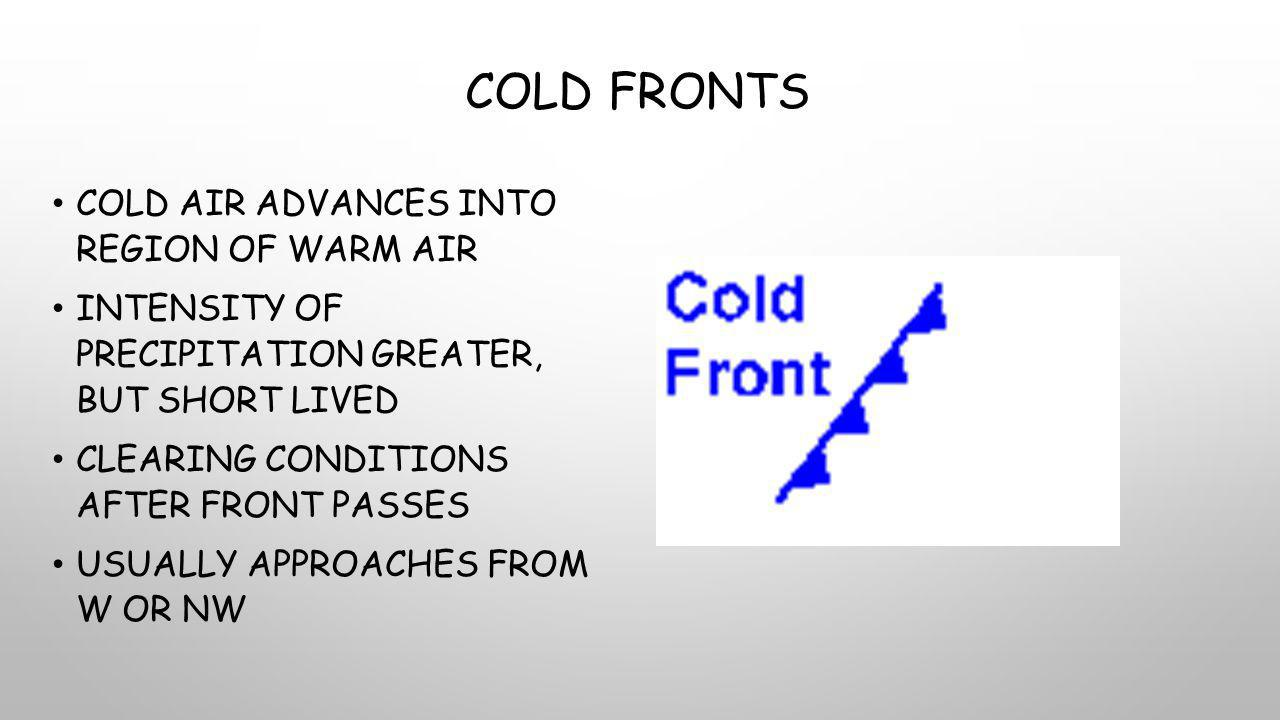 COLD FRONTS COLD AIR ADVANCES INTO REGION OF WARM AIR INTENSITY OF PRECIPITATION GREATER, BUT SHORT LIVED CLEARING CONDITIONS AFTER FRONT PASSES USUALLY APPROACHES FROM W OR NW