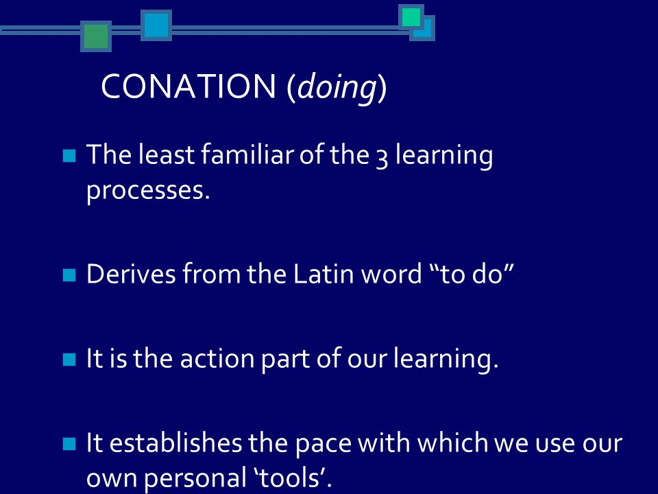 CONATION (doing) The least familiar of the 3 learning processes.