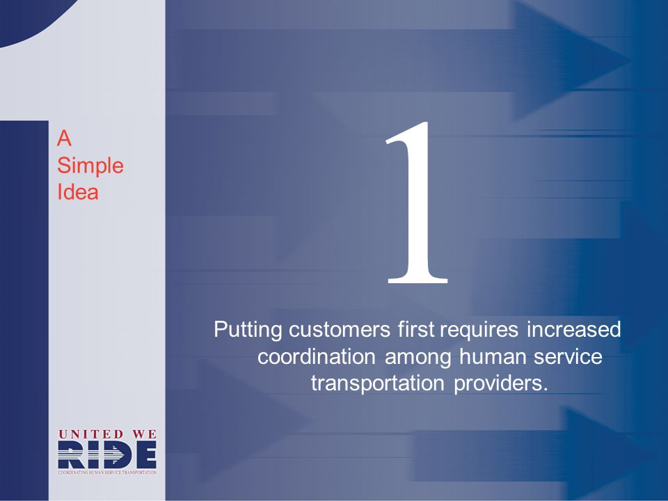 A Simple Idea 1 Putting customers first requires increased coordination among human service transportation providers.