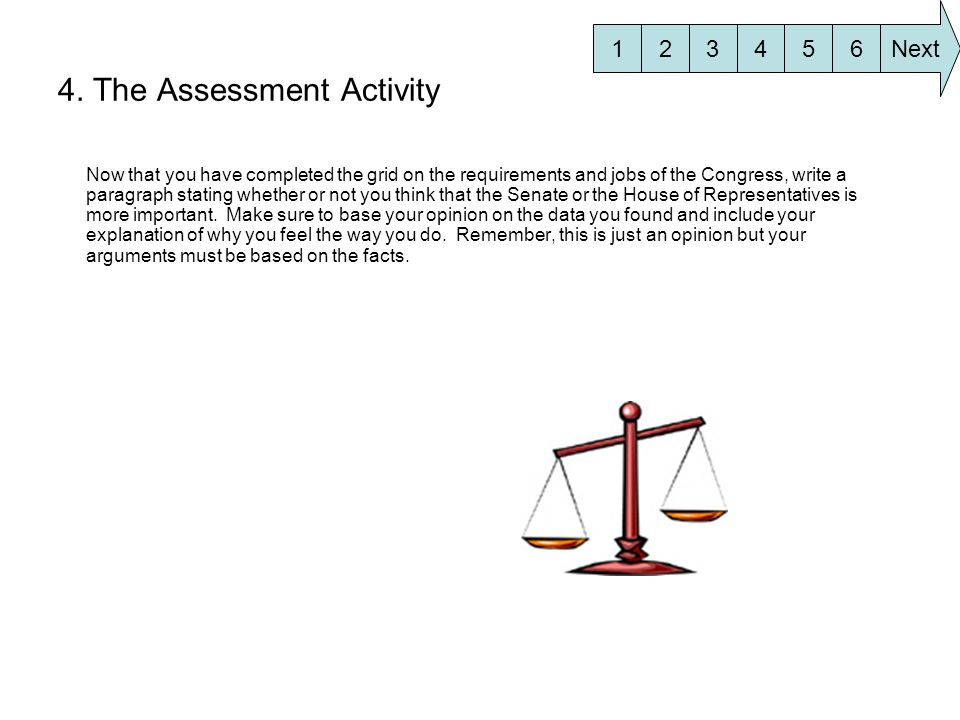 4. The Assessment Activity Now that you have completed the grid on the requirements and jobs of the Congress, write a paragraph stating whether or not