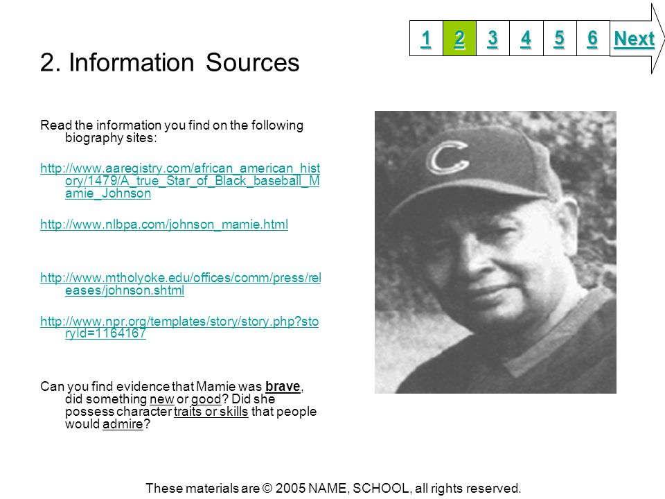 2. Information Sources Read the information you find on the following biography sites: http://www.aaregistry.com/african_american_hist ory/1479/A_true