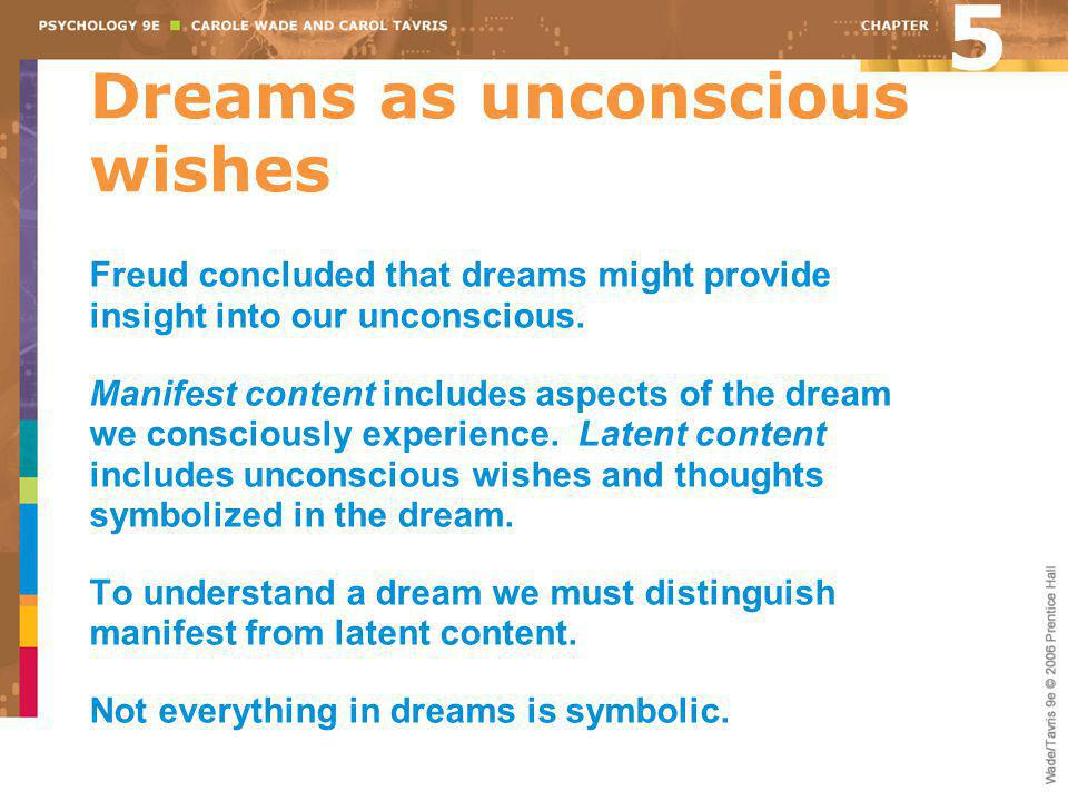 Dreams as unconscious wishes Freud concluded that dreams might provide insight into our unconscious. Manifest content includes aspects of the dream we