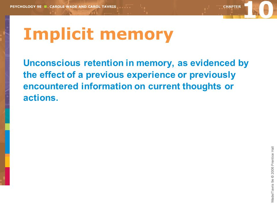 Implicit memory Unconscious retention in memory, as evidenced by the effect of a previous experience or previously encountered information on current thoughts or actions.