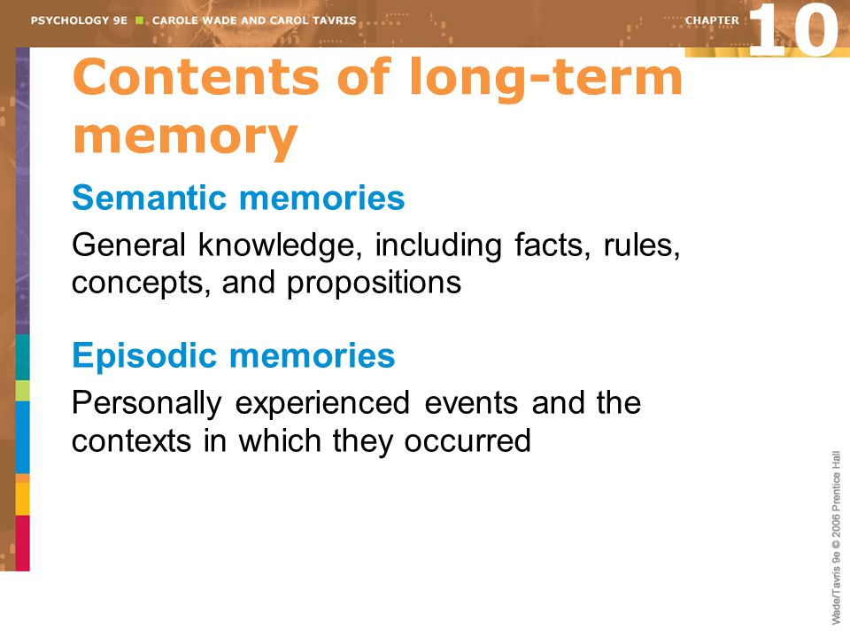 Contents of long-term memory Semantic memories General knowledge, including facts, rules, concepts, and propositions Episodic memories Personally experienced events and the contexts in which they occurred 10