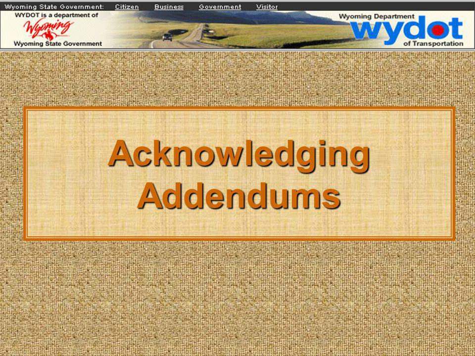 Acknowledging Addendums