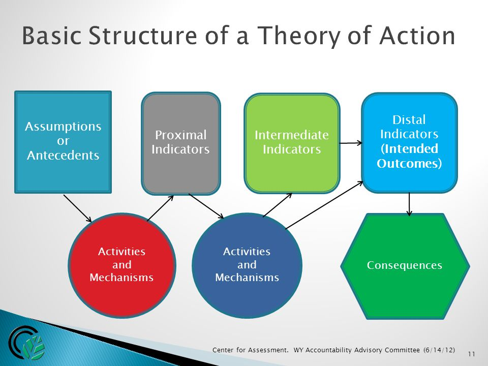 Assumptions or Antecedents Activities and Mechanisms Proximal Indicators Intermediate Indicators Activities and Mechanisms Distal Indicators (Intended Outcomes) Consequences 11 Center for Assessment.