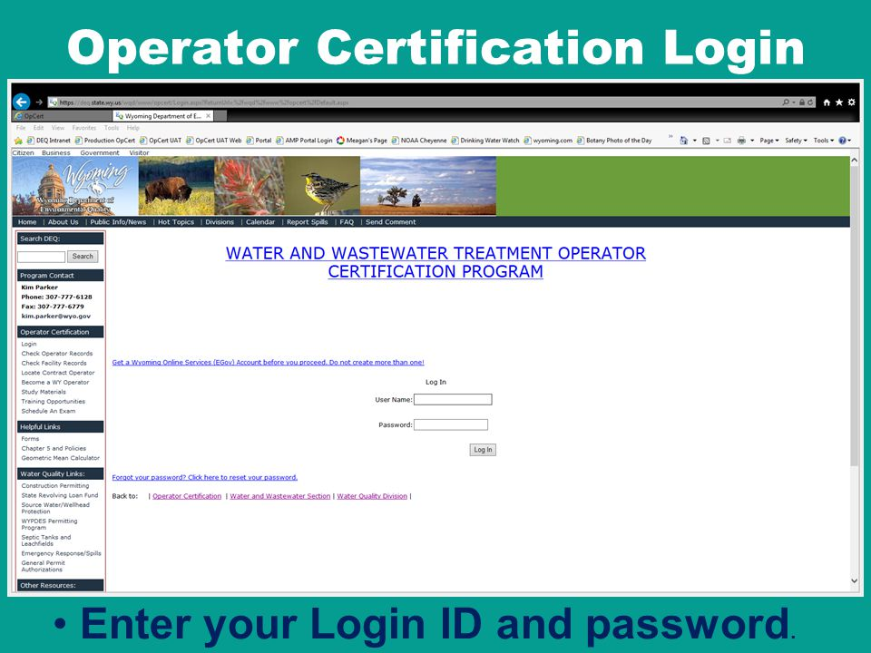 Operator Certification Login Enter your Login ID and password.