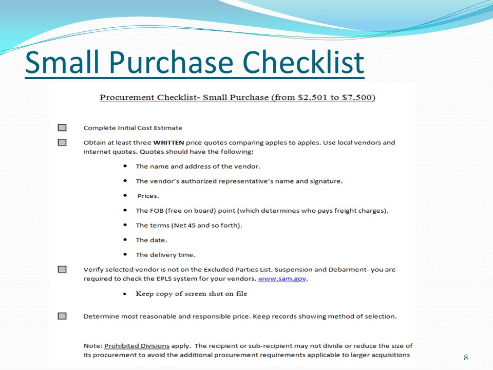 Small Purchase Checklist 8