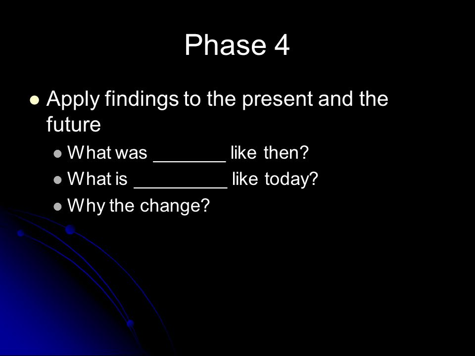 Phase 4 Apply findings to the present and the future What was _______ like then? What is _________ like today? Why the change?