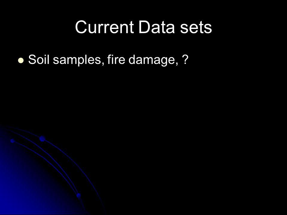 Current Data sets Soil samples, fire damage, ?