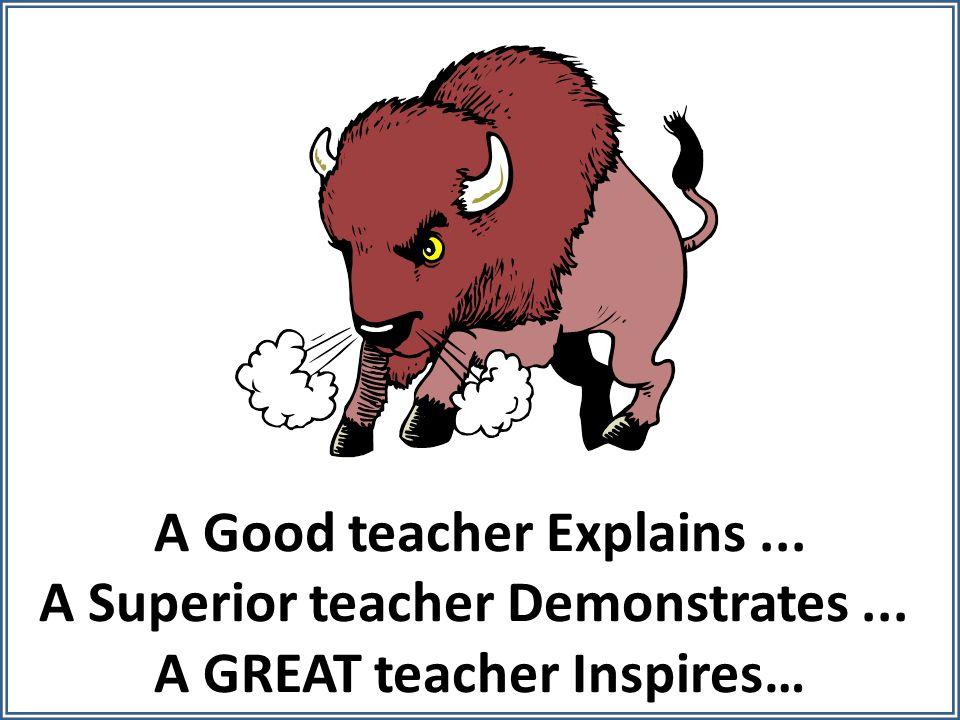 A Good teacher Explains... A Superior teacher Demonstrates... A GREAT teacher Inspires…
